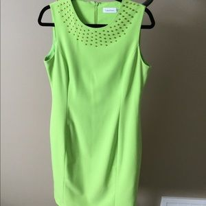 Calvin Klein lime green lined dress